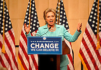 Hillary Clinton releases her delegates at the Denver Convention Center in downtown Denver during the 2008 Democratic National Convention. Clinton encouraged her delegates to vote for whomever they wanted but said she had cast her vote for Barack Obama.