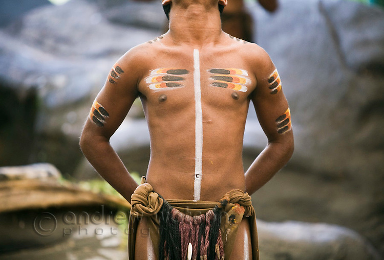 Indigenous dancer at Tjapukai Aboriginal Cultural Park.  Smithfield, Cairns, Queensland, Australia