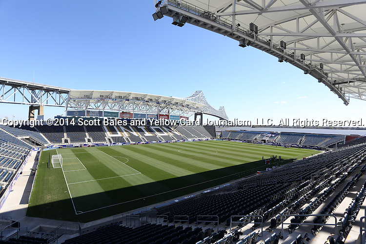 26 October 2014: A wide shot of PPL Park from the southwest corner. The Trinidad & Tobago Women's National Team played the Mexico Women's National Team at PPL Park in Chester, Pennsylvania in the 2014 CONCACAF Women's Championship Third Place game. Mexico won the game 4-2 after extra time. With the win, Mexico qualified for next year's Women's World Cup in Canada and Trinidad & Tobago face playoff for spot against Ecuador.