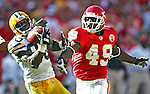 Green Bay Packers' Donald Driver hauls in a 26-yard Brett Favre pass in front of Kansas City Chiefs' Bernard Pollard in the 3rd quarter. .The Green Bay Packers traveled to Arrowhead Stadium in Kansas City, Missouri to play the Chiefs Sunday November 4, 2007. Steve Apps-State Journal.