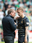 St Johnstone v Celtic&hellip;20.08.16..  McDiarmid Park  SPFL<br />Brendon Rodgers talks with Leigh Griffiths as he is subbed<br />Picture by Graeme Hart.<br />Copyright Perthshire Picture Agency<br />Tel: 01738 623350  Mobile: 07990 594431