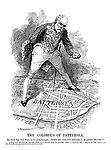 """The Colossus of Battersea. The Right Hon. John Burns (to his native borough). """"Shift me and you become a 'blasted heath'!"""" [""""If he were defeated the borough would never recover from the indelible stigma of rejecting him."""" - Report, in """"The Times,"""" of Mr. John Burns speech at the Battersea Town Hall.]"""