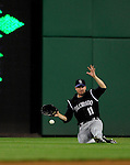15 August 2008: Colorado Rockies' right fielder Brad Hawpe is unable to pull in a Ronnie Belliard liner to right in the 7th inning against the Washington Nationals at Nationals Park in Washington, DC.  The Rockies edged out the Nationals 4-3, handing the last place Nationals their 8th consecutive loss. ..Mandatory Photo Credit: Ed Wolfstein Photo
