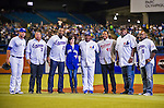 1 April 2016: Former Montreal Expo players pose for a group photo prior to an exhibition game between the Boston Red Sox and the Toronto Blue Jays at Olympic Stadium in Montreal, Quebec, Canada. Left to right in Expos jerseys are: Jose Vidro (3), Vladimir Guerrero (27), Tim Raines, Pedro Martinez (45), Ellis Valentine (17) and Marquis Grissom (9). The Red Sox defeated the Blue Jays 4-2 in the first of two MLB weekend exhibition games, which saw an attendance of 52,682 at the former home on the Montreal Expos. Mandatory Credit: Ed Wolfstein Photo *** RAW (NEF) Image File Available ***