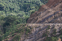 An example of the scale of rock terracing and deforestation required to enlarge the Interoceanic Highway as the Andes meets  the Amazon basin