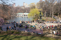 People enjoy the area around Bethesda Fountain in Central Park on a warm late winter day in New York City
