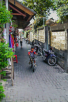 Bali, Badung, Kuta. The famous Poppies Lane, a narrow path from Jl.Legian down to the beach.
