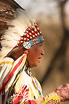 A Native American Sioux Indian telling a story outside