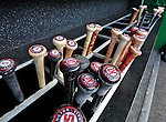 18 May 2012: The bat rack in the Washington Nationals dugout is filled with baseball bats ready for a game against the Baltimore Orioles at Nationals Park in Washington, DC. The Orioles defeated the Nationals 2-1 in the first game of their 3-game series. Mandatory Credit: Ed Wolfstein Photo
