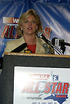 12 May 2003: WUSA President and CEO Lynn Morgan at a press conference in Cary, NC announcing that the Carolina Courage would host the 2003 All-Star Game..Mandatory Credit: Scott Bales/Icon SMI