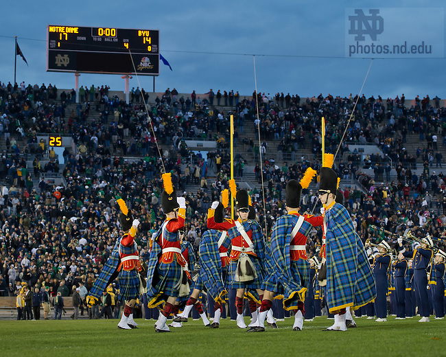 Oct. 20, 2012; The Irish Guard does the Victory Clog after Notre Dame defeated Brigham Young 17-14...Photo by Matt Cashore.