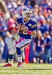 12 October 2014: Buffalo Bills quarterback Kyle Orton looks to find an open receiver during a game against the New England Patriots at Ralph Wilson Stadium in Orchard Park, NY. The Patriots defeated the Bills 37-22 to move into first place in the AFC Eastern Division. Mandatory Credit: Ed Wolfstein Photo *** RAW (NEF) Image File Available ***