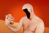 A man with his face cut and pulled off, revealing that his head is completely empty.