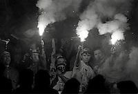 Pix:Michael Steele/SWpix..Soccer. Fiorentina fans. Fiorentina v Roma, 1989...COPYRIGHT PICTURE>>SIMON WILKINSON..Fiorentina fans.