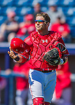 28 February 2016: Washington Nationals catcher Spencer Kieboom in action during an inter-squad pre-season Spring Training game at Space Coast Stadium in Viera, Florida. Mandatory Credit: Ed Wolfstein Photo *** RAW (NEF) Image File Available ***