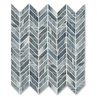 Chevron, shown in polished Greystoke is part of New Ravenna's Studio Line. All mosaics in this collection are ready to ship within 48 hours.<br />