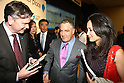 Apr. 26 - Tokyo, Japan - Idan Ofer (C), Chairman of the board of Global electric vehicle service provider Better Place delivers is pictured during a press conference to announce the world's first switchable-battery electric taxi in Tokyo on April 26, 2010. Better Place demonstrated the taxi with the Japanese Ministry of Economy, Trade, and Industry, and Tokyo's largest taxi operator Nihon Kotsu.