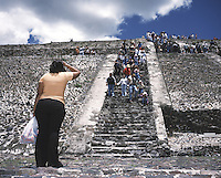 """A lady contemplates the climb up the piramid of the sun in teotihuacan, mexico 2004. Exhibited in the Salon Malafama as part of the """"Vacaciones"""" series, Mexico City July, 2006"""