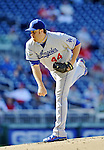 19 September 2012: Los Angeles Dodgers pitcher Aaron Harang on the mound against the Washington Nationals at Nationals Park in Washington, DC. The Nationals defeated the Dodgers 3-1 in the first game of their double-header. Mandatory Credit: Ed Wolfstein Photo