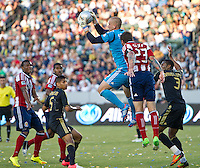 CARSON, CA - July 21, 2012: LA Galaxy goalie Josh Saunders (12) during the LA Galaxy vs Chivas USA match at the Home Depot Center in Carson, California. Final score LA Galaxy 3, Chivas USA 1.