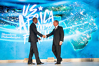 United States President Barack Obama shakes hands with former New York City mayor Michael Bloomberg before speaking at the U.S.-Africa Business Forum at the Plaza Hotel, September 21, 2016 in New York City. The forum is focused on trade and investment opportunities on the African continent for African heads of government and American business leaders. <br /> Credit: Drew Angerer / Pool via CNP /MediaPunch