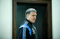 "Argentina soccer coach Gerardo Daniel ""Tata"" Martino arrives for a press conference before the friendly match between Argentina and Ecuador in New Jersey. 03.30.2015. Eduardo MunozAlvarez / VIEWpress."