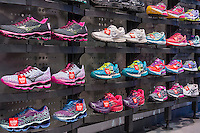 "An athletic shoe display in a Foot Locker store in New York on Saturday, January 10, 2015. Credit Suisse recently downgraded the retailers stock to ""neutral"", previously ""outperform"", calling it a strong performer citing the risk of buying the stock vs. the cost of the stock.  (© Richard B. Levine)"
