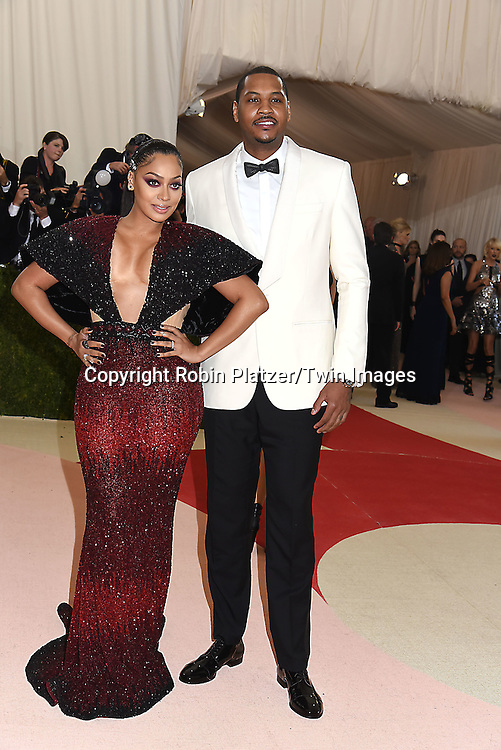 La La Anthony &amp; Carmelo Anthony attend the Metropolitan Museum of Art Costume Institute Benefit Gala on May 2, 2016 in New York, New York, USA. The show is Manus x Machina: Fashion in an Age of Technology. <br /> <br /> photo by Robin Platzer/Twin Images<br />  <br /> phone number 212-935-0770