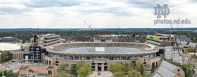 Apr. 25, 2016; Notre Dame Stadium with Campus Crossroads project under construction, spring 2016. (Photo by Matt Cashore/University of Notre Dame)