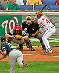 12 April 2008: Washington Nationals' outfielder Lastings Milledge at bat against the Atlanta Braves at Nationals Park, in Washington, DC. The Braves defeated the Nationals 10-2...Mandatory Photo Credit: Ed Wolfstein Photo