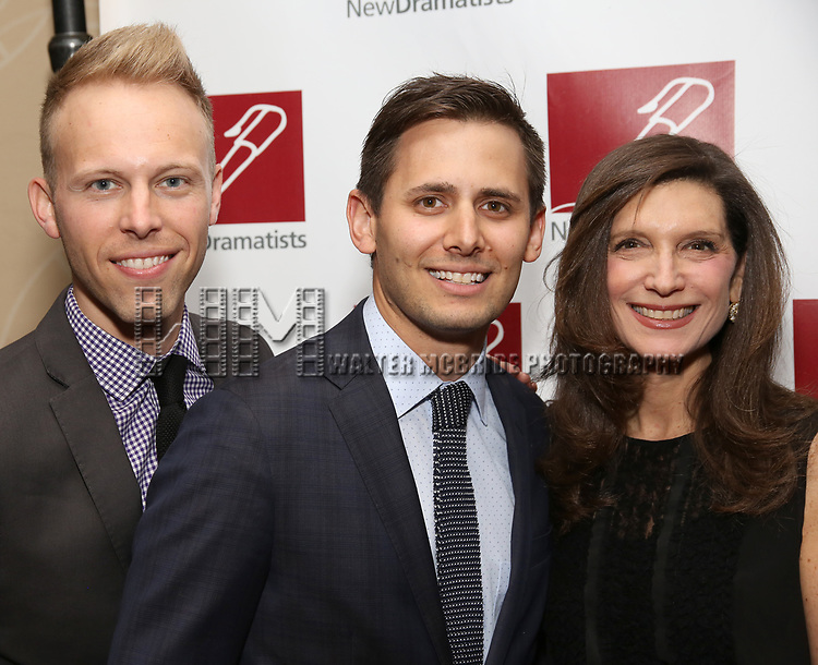 Justin Paul, Benj Pasek and Stacey Mindich attends The New Dramatists' 68th Annual Spring Luncheon at the Marriott Marquis on May 16, 2017 in New York City.