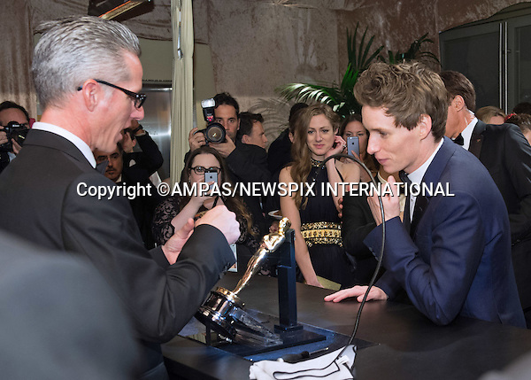 22.02.2015; Hollywood, California: 87TH OSCARS GOVERNORS BALL - EDDIE REDMAYNE and HANNAH BAGSHAWE<br /> <br /> Celebrity attend the the Annual Academy Awards Governors Ball, Dolby Theatre, Hollywood.<br /> Mandatory Photo Credit: NEWSPIX INTERNATIONAL<br /> <br />               **ALL FEES PAYABLE TO: &quot;NEWSPIX INTERNATIONAL&quot;**<br /> <br /> PHOTO CREDIT MANDATORY!!: NEWSPIX INTERNATIONAL(Failure to credit will incur a surcharge of 100% of reproduction fees)<br /> <br /> IMMEDIATE CONFIRMATION OF USAGE REQUIRED:<br /> Newspix International, 31 Chinnery Hill, Bishop's Stortford, ENGLAND CM23 3PS<br /> Tel:+441279 324672  ; Fax: +441279656877<br /> Mobile:  0777568 1153<br /> e-mail: info@newspixinternational.co.uk