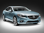 Blue 2014 Mazda Mazda6 midsize sedan car isolated on gray background with clipping path