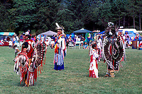 Native American Indian Fancy Dancers in Traditional Regalia at a Pow Wow on the Tsartlip Indian Reserve, near Brentwood Bay on Vancouver Island, British Columbia, Canada