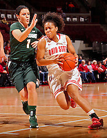Ohio State Buckeyes guard Maleeka Kynard (12) gets past Michigan State Spartans guard Tori Jankoska (1) and heads towards the basket during the first half of their NCAA basketball game at Value City Arena in Columbus, Ohio on January 26, 2014.  (Dispatch photo by Kyle Robertson)