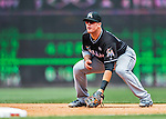 14 May 2016: Miami Marlins first baseman Justin Bour in action during the first game of a double-header against the Washington Nationals at Nationals Park in Washington, DC. The Nationals defeated the Marlins 6-4 in the afternoon matchup.  Mandatory Credit: Ed Wolfstein Photo *** RAW (NEF) Image File Available ***