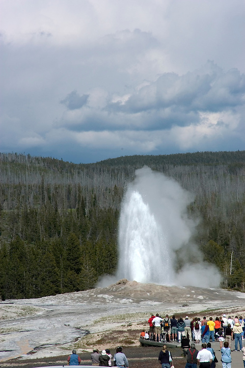 WY: Wyoming; Yellowstone National Park:.Old Faithful geyser.Photo #: yellow1325..Photo copyright Lee Foster, 510/549-2202, lee@fostertravel.com, www.fostertravel.com..