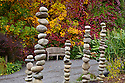 WA08869-00..WASHINGTON - Stacks of rocks in the Perennial Border Garden area of the Bellevue Botanical Garden.