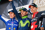 Alejandro Valverde (ESP) Movistar Team wins his 5th Fleche on the podium with Daniel Martin (IRL) Quick-Step Floors in 2nd place and Dylan Teuns (BEL) BMC Racing Team at the end of La Fleche Wallonne 2017, Huy, Belgium. 19th April 2017. Photo by Thomas van Bracht / PelotonPhotos.com