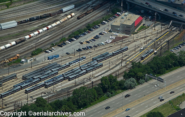 aerial view above Cleveland Rapid Transit RTA rail yard Ohio