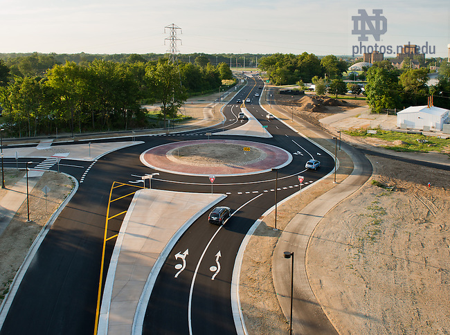 Aug. 15, 2013; Douglas Road after 2012-13 relocation.<br /> <br /> Photo by Matt Cashore/University of Notre Dame