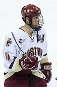 Mike Brennan (Boston College - Smithtown, NY) takes part in warmups. The Michigan State Spartans defeated the Boston College Eagles 3-1 (EN) to win the national championship in the final game of the 2007 Frozen Four at the Scottrade Center in St. Louis, Missouri on Saturday, April 7, 2007.