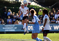 SAN DIEGO, CA - DECEMBER 02, 2012:  Kelly McFarlane (11) of the University of North Carolina goes up for a header against Christine Nairn (10) of Penn State University during the NCAA 2012 women's college championship match, at Torero Stadium, in San Diego, CA, on Sunday, December 02 2012. Carolina won 4-1.