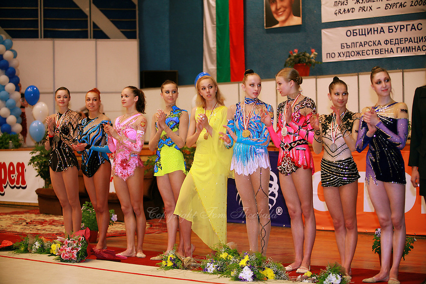 (L-R) Anna Bessonova and Natalya Godunko of Ukraine, Marina Shpekt of Russia, Luibov Charkashina and Inna Zhukova of Belarus, Vera Sessina and Olga Kapranova of Russia, Simona Peycheva and Elizabeth Paisieva of Bulgaria line up during event final awards at 2006 Burgas Grand Prix from Burgas, Bulgaria on May 7, 2006.  (Photo by Tom Theobald)