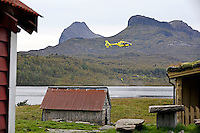 Water pick up training in Gj&oslash;setvatnet. <br /> Norwegian Air Ambulance base in F&oslash;rde.