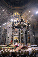 Pope Benedict XVI celebrates the midndight Christmas mass at St. Peter's Basilica in Vatican City on December 24, 2012