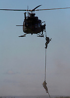 Tactical demo with Bell 412 SP helicopter and special forces. Norway