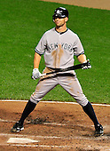 New York Yankees left fielder Brett Gardner (11) reacts to a called strike in the eighth inning against the Baltimore Orioles at Oriole Park at Camden Yards in Baltimore, Maryland on Monday, August 29, 2011.  The Yankees won the game 3 - 2..Credit: Ron Sachs / CNP.(RESTRICTION: NO New York or New Jersey Newspapers or newspapers within a 75 mile radius of New York City)