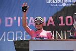 Race leader Maglia Rosa Andre Greipel (GER) Lotto-Soudal arrives at sign on in Arbatax before the start of Stage 3 of the 100th edition of the Giro d'Italia 2017, running 148km from Tortoli to Cagliari, Sardinia, Italy. 7th May 2017.<br /> Picture: Eoin Clarke | Cyclefile<br /> <br /> <br /> All photos usage must carry mandatory copyright credit (&copy; Cyclefile | Eoin Clarke)
