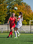29 September 2013: Stony Brook University Seawolves Forward/Midfielder Leah Yurko, a Freshman from Cumberland, MD, battles University of Vermont Catamount Forward/Defender Haley Marks, a Senior from Penfield, NY, during game action at Virtue Field in Burlington, Vermont. The Lady Seawolves defeated the Catamounts 2-1 in America East play. Mandatory Credit: Ed Wolfstein Photo *** RAW (NEF) Image File Available ***
